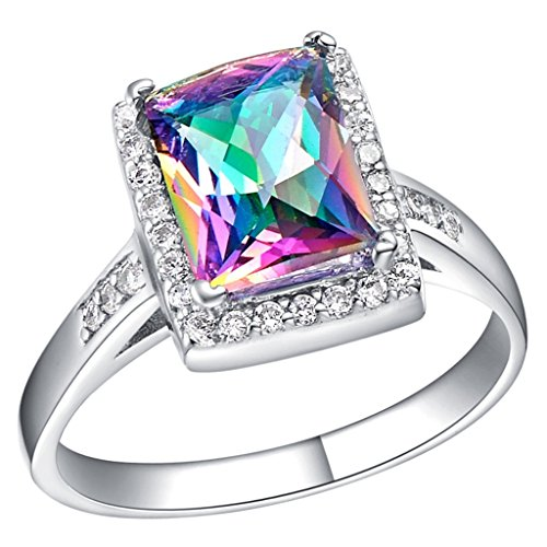 Epinki, 18k White Gold Plated Fashion Jewelry Rings Square Colored Stone Size ()
