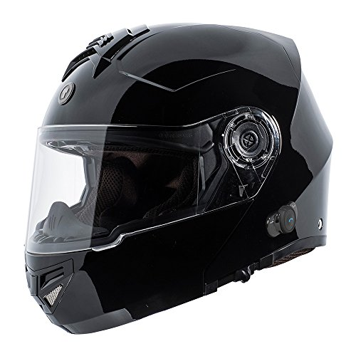 TORC T27B Full Face Modular Motorcycle Helmet with Integrated Blinc Bluetooth (Solid Color-Gloss Black)