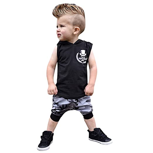 fcbc33b78 Amazon.com  NUWFOR Toddler Kids Baby Boy Outfits Letter Print Hooded ...