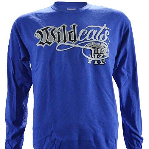 UK Wildcat Bling NCAA University of Kentucky Wildcats on a Blue Long Sleeve T Shirt