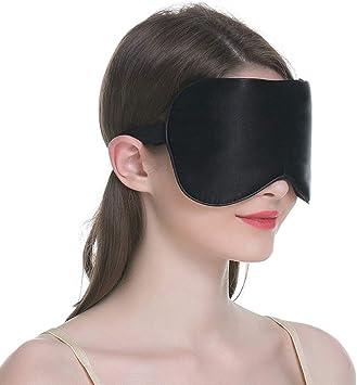 Voyage sommeil masque//Bandeau-Réglable-Noir 100/% SOIE Masque yeux