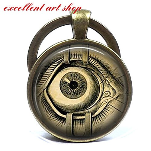 - Steampunk keychain Human Anatomy Eyeball Keychain Evil Eye Science Medical Art Pendant in Bronze or Silver with Link Chain Included