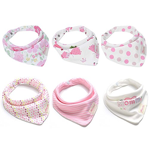 Baby Bandana Drool Bibs 6 Packs Super Absorbent Cotton Bibs w/ Snap Baby Gift Set for Girls