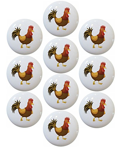 Strutting Rooster - Strutting Rooster Ceramic Cabinet Drawer Pulls Knobs (Set of 10 Knobs)