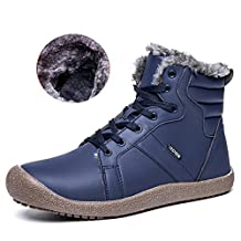 Men Slip-On Snow Boots Fully Fur Lining High Top/ Low Top Winter Shoes for Indoor/Outdoor/Hiking/Travel/Casual/Slipper