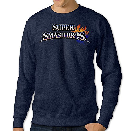Price comparison product image JXMD Men's Super Smash Bros. For Wii U Crewneck Sweatshirt Navy Size XL