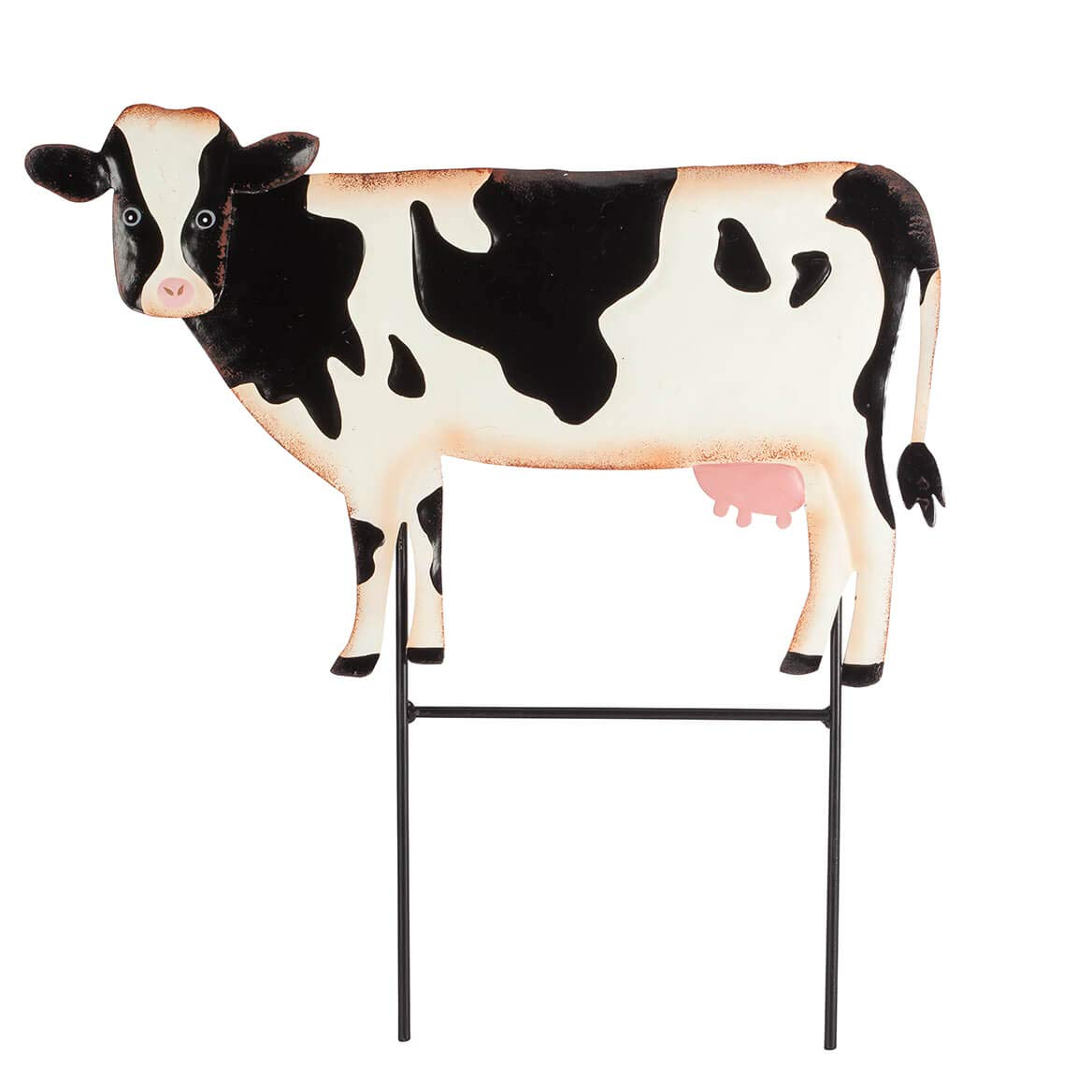 Fox Valley Traders Cow Lawn Stake, Metal Garden Accent Décor, 14'' Wide x 10'' High with Stake
