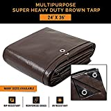 24' x 36' Super Heavy Duty 16 Mil Brown Poly Tarp Cover - Thick Waterproof, UV Resistant, Rot, Rip and Tear Proof Tarpaulin with Grommets and Reinforced Edges - by Xpose Safety