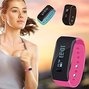 Hasta inteligente deporte pulsera pulsera de reloj inteligente pulsera SmartBand Bluetooth SmartWatch banda apoyo Android iOS dormir detecci�n inteligente anti-lost reloj inteligente para Mens ni�os ni�as, rosa