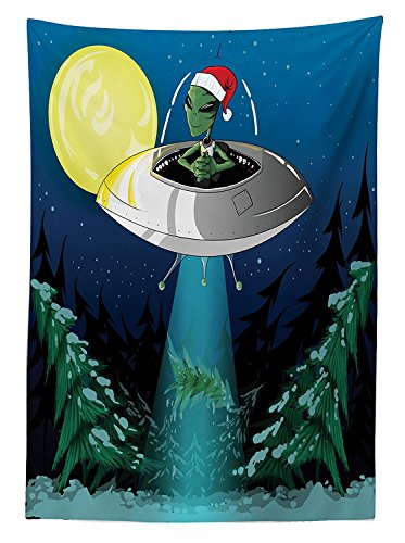 Outer Space Decor Tablecloth Alien Man with Santa Claus Hat Kidnaps Tree for Christmas Night Airship Noel Print Rectangular Table Cover for Dining Room Kitchen Green Blue