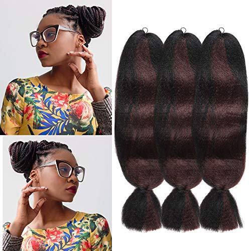 Jumbo Braiding Hair Ombre 2pack 57G/pack Synthetic Braiding Fiber Hair Extension for Braids Hair 48inch (3pack 1B/33)