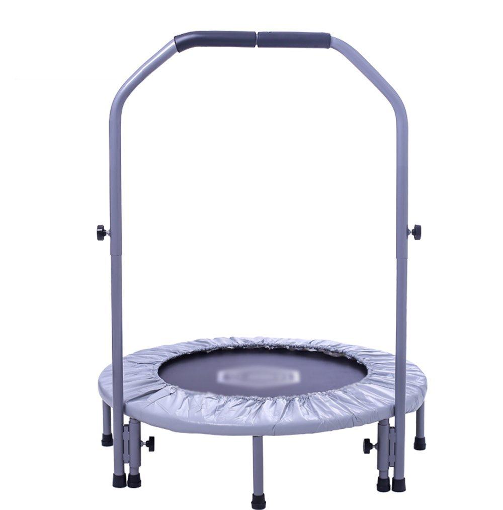 Erwachsenes Trampolin, Fitness-Home Faltbar, Kinder-Indoor mit Armlehne Verstellbarem Feder Trampolin 96Cm Grau
