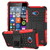 Microsoft Lumia 640 Case,Mama Mouth Shockproof Heavy Duty Combo Hybrid Rugged Dual Layer Grip Cover with Kickstand For Microsoft Lumia 640 Smart Phone 2015 Version (With 4 in 1 Free Gift Packaged:Black Stylus Touch Pen,Black Silicone Fish Headset Wrap,Black Micro USB Port Anti Dust Plugs,Black 3.5mm Headphone Jack Anti Dust Plugs), Red