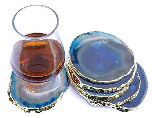 "JIC Gem Golden Plated Dyed Blue Agate Coasters, 6 pcs set, 3-4"", with Rubber Bumper"