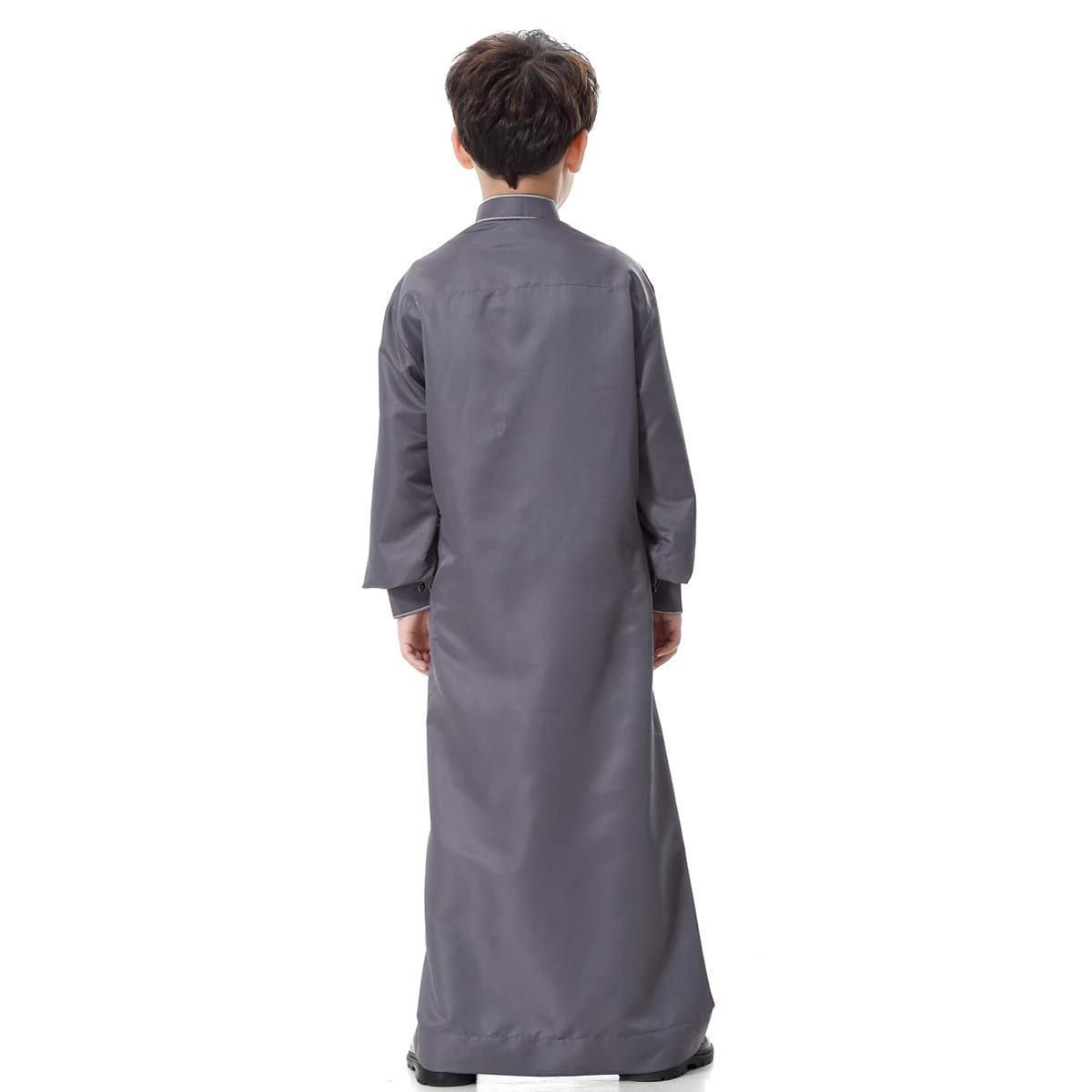 BaronHong Boys Muslim Embroidery Thobe Long Sleeves Stand Collar Button-Down