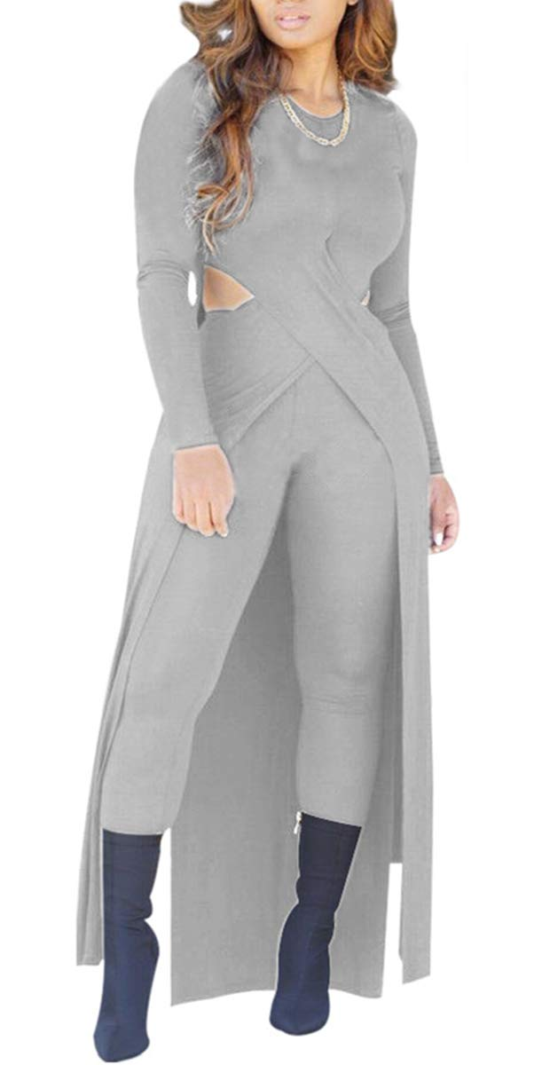 Womens Sexy 2 Piece Outfits Long Sleeve Hollow Out Side Slit Cardigan Top and Pants Set Jumpsuit Rompers Clubwear (Large, Grey)