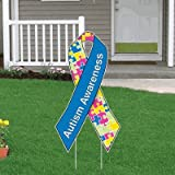 VictoryStore Yard Sign Outdoor Lawn Decorations - Autism Awareness Ribbon Yard Sign Set of 10 Package w/EZ Stakes! - SET of 10!