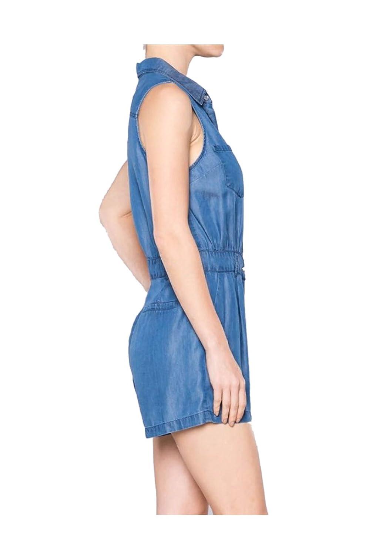 2LUV Women's Sleeveless Tencel Denim Romper