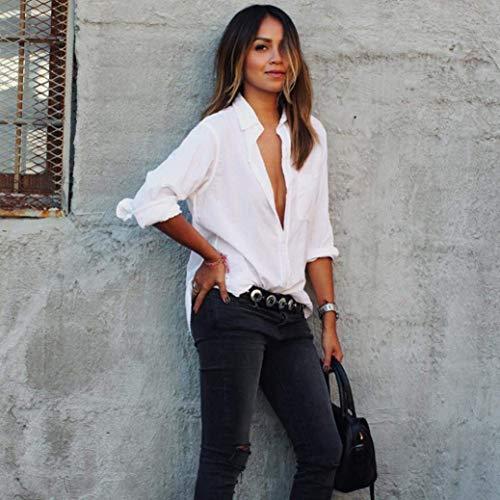 V Unie Shirts Large Blouse Haut Blanc Spcial Femme Cou Manches Dame Automne Longues Chemise Style Tops Printemps Office Casual Couleur qpRtxPw0