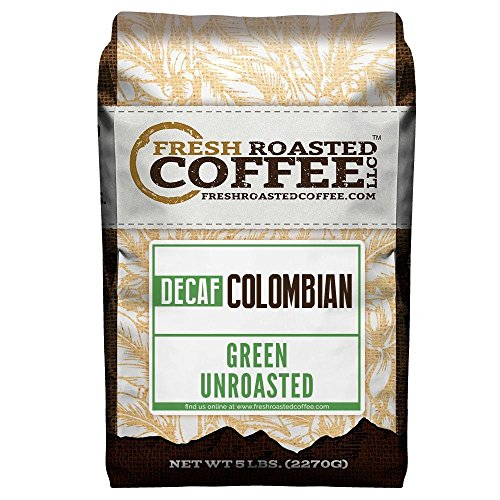 Fresh Roasted Coffee LLC, Green Unroasted Colombian Decaffeinated Coffee Beans, 5 Pound Bag (Decaf Green Coffee Beans)