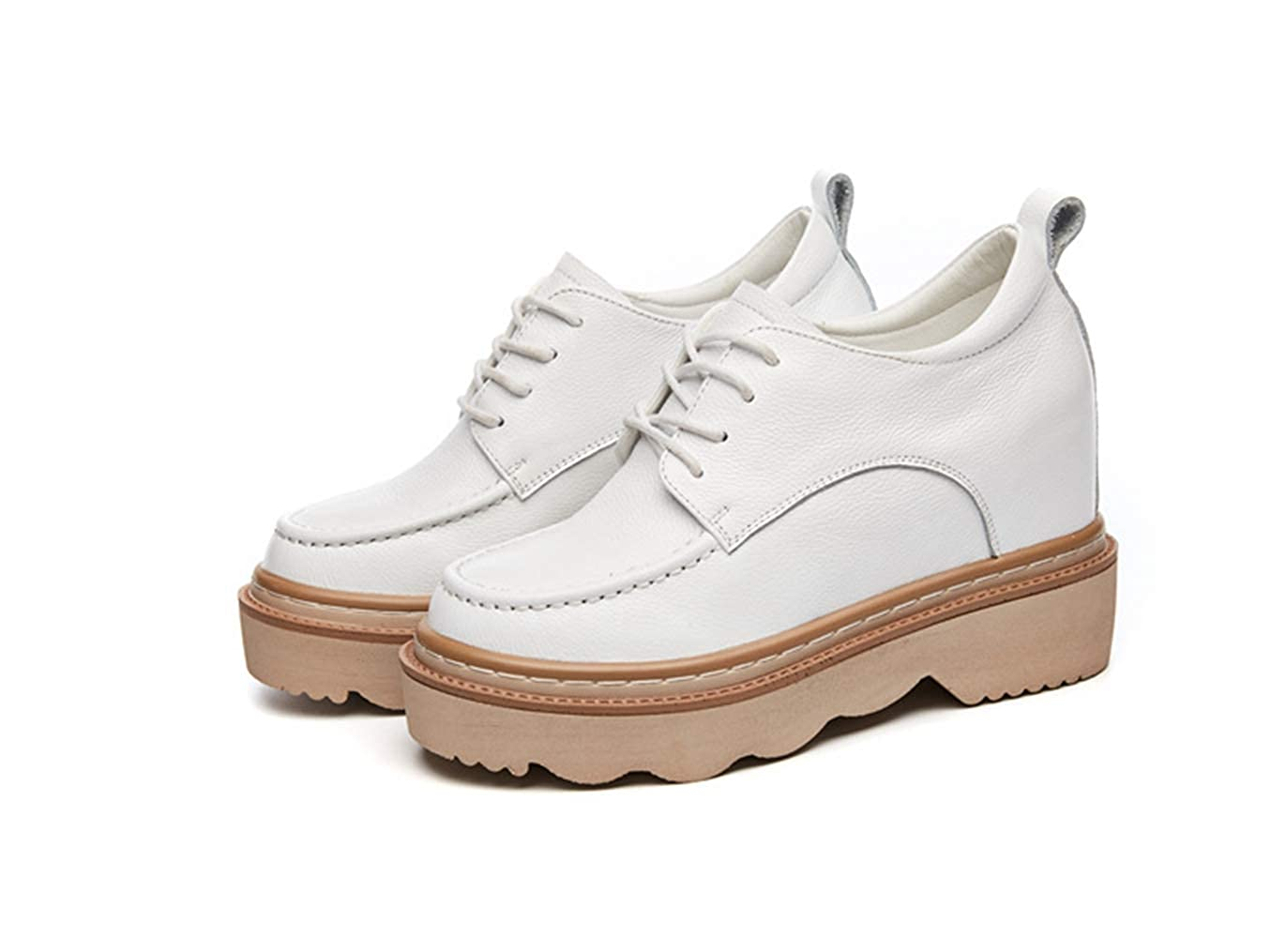 White T-JULY Woman Autumn Genuine Leather Leisure shoes Female Casual Platform White Wedge Sneakres