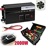 2000W Power Inverter 2 AC Outlets & 4 USB Ports Car Battery Connect Cables Built-in Fuses Cooling Fan with Multiple Security Protection, 2 Year Warranty