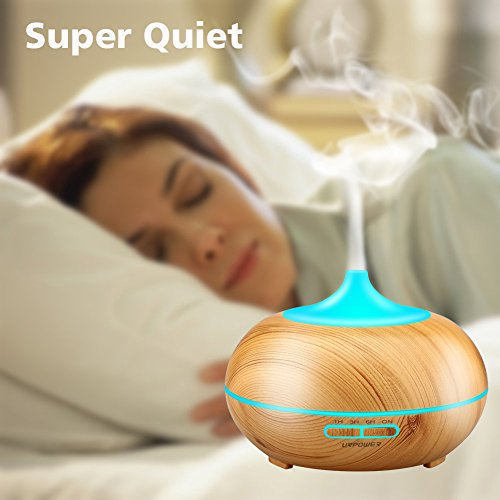 Aromatherapy-Essential-Oil-Diffuser-URPOWER-300ml-Wood-Grain-Ultrasonic-Cool-Mist-Whisper-Quiet-Humidifier-with-Color-LED-Lights-Changing-4-Timer-Settings-Waterless-Auto-Shut-Off-for-Spa-Baby