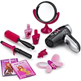 JaxoJoy Beauty Stylist Set – Complete Play Pretend Hair Salon Station Gift Playset for Girls with Toy Blow Dryer, Curler, Scissors, Comb, Table, Mirror & Other Styling Tools – Recommended Ages 3+