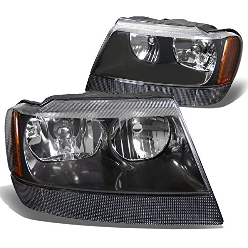 DNA Motoring HL-OH-JGC99-BK-AM Headlight Assembly, Driver and Passenger (Grand Am Headlight Lamp)