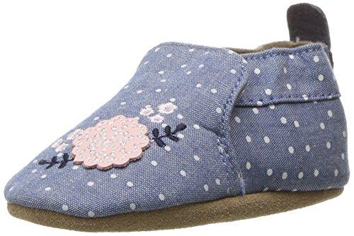Robeez Girls' Soft Soles, Bouquet Chambray, 0-6 Months M US Infant (Bouquet Flat)