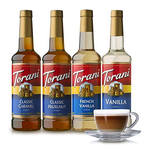 Torani Variety Pack Caramel, French Vanilla, Vanilla & Hazelnut, 25.4 Ounces (Pack of 4) (Best Lemonade In Los Angeles)