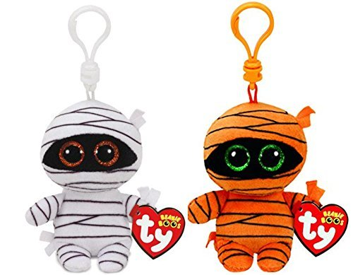 Ty Halloween 2017 Beanie Boo Clips Set of 2: Mask and Mummy! -
