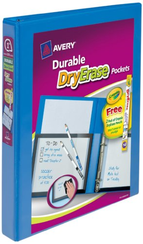 Dry Erase Binder (Avery View Binder with Dry Erase Pocket and Crayola Dry Erase Colored Pencils, 1 inch Slant Ring, Blue (17926))