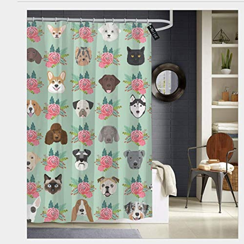 pendant necklace Dogs and Cats Heads Florals Pet Lover Fabric Pattern Mint and Pink_668 Prints Rustic Old Barn Wood Bathroom Shower Curtain Set with Hooks 60