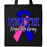 Inktastic - Male Breast Cancer Faith Keeps Me Going Tote Bag Black