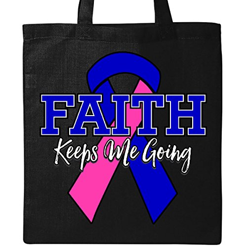 Inktastic - Male Breast Cancer Faith Keeps Me Going Tote Bag Black by inktastic
