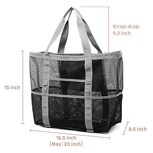 Beach Bag, Packism 8 Pockets Mesh Beach Bag Large Capacity Beach Tote Lightweight Beach Toy Bag Odor-Free Beach Tote for Women Picnic Travel, Grey