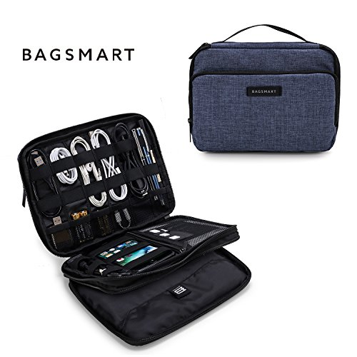 BAGSMART 3-Layer Travel Electronics Cable Organizer with Bag for 9.7 iPad, Hard Drives, Cables, Charger, Kindle, Blue