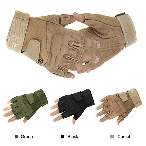 Natuworld Classic Outdoor Sports Durable Men's Half-finger Gloves Camel Tactical Hunting Riding Bicycle Cycling Skidproof Protect Gloves - 3 Size Available