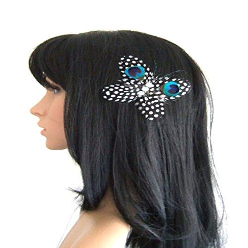 Jelinda Women Butterfly Shape Peacock Feather Bridal Wedding Hair Clip Headpiece Hair Accessory - Shape No2