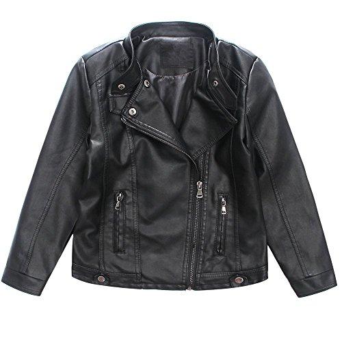 LJYH Girls Faux Leather Jacket Kids Costume Motorcycle Coat Redwine Black ()