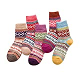 Clearance! Napoo 5 Pairs Women Printed Colorful Knit Warm Wool Socks (A)