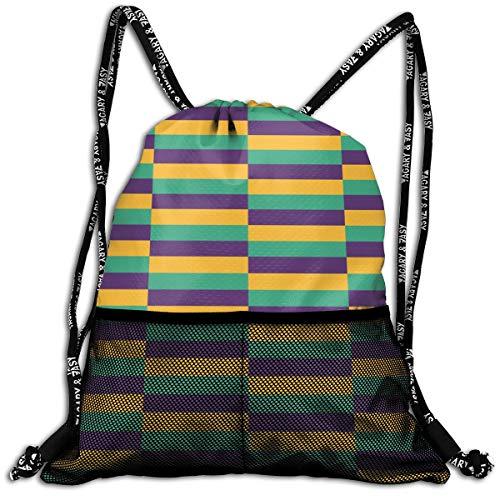 Girls & Boys Drawstring Bag Theft Proof Lightweight Beam Backpack, Gym Gymsack - Mardi Gras Jester Waterproof Backpack Soccer Basketball Bag