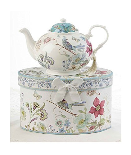 Delton Products Partridge 9.5 inches x 5.6 inches Porcelain Tea Pot in Gift Box Serveware