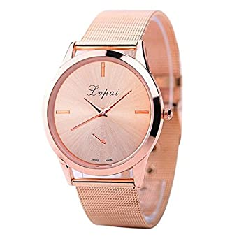 Amazon.com: Dressin Womens Geneva Watch, Geneva Fashion Diamond Analog Leather Strap Quartz Wrist Watch Watches Female Bracelet montre Watch (Rose Gold): ...