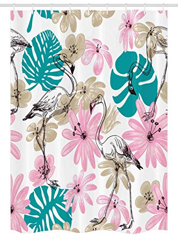 (Ambesonne Nautical Stall Shower Curtain, Flamingo Flowers Exotic Garden Birds Animal Blooms Leaves Pattern Artwork, Fabric Bathroom Decor Set with Hooks, 54 W x 78 L Inches, Teal Light Pink Tan)