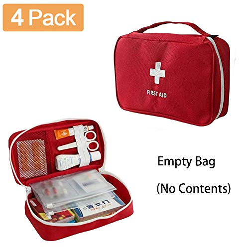 4 Pack First Aid Bag Empty Portable Medical Bag Emergency Survival Storage Bag for Camping Home Travel ()