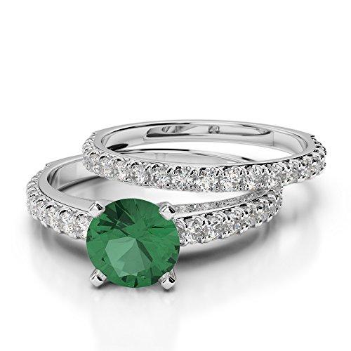 G-H/VS 1CT Coupe ronde sertie de diamants Émeraude et diamants blancs et bague de fiançailles en platine 950Agdr-2057