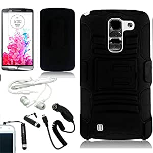[ARENA] SOLID BLACK HYBRID SIDE STAND COVER BELT CLIP HOLSTER CASE for LG G PRO 2 + FREE ARENA ACCESSORY KIT