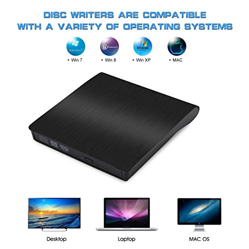 TeeBeg External CD Drive, External DVD Drive USB 3.0 Slim Portable High Speed Data Transfer DVD/CD/Drive/Player/Writer/Burner/Rewriter for Laptop/Macbook/Desktop/MacOS/Windows10/8/7/XP (Black) by TeeBeg (Image #5)